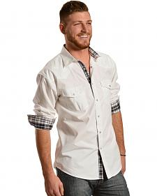 Red Ranch White Embroidered Yoke Western Shirt