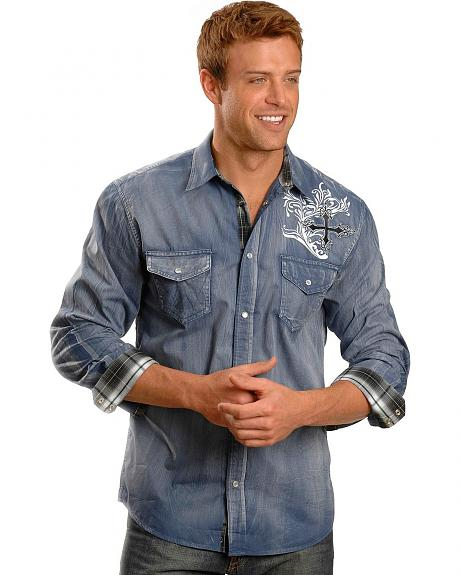 Red Ranch Denim Wash Cross Embroidery Shirt
