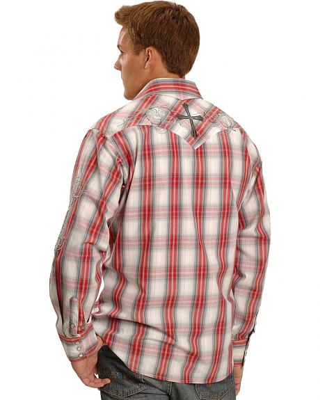 90 Proof by Panhandle Slim Embroidered Plaid Western Shirt