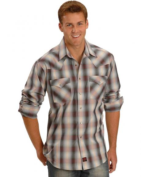 90 Proof by Panhandle Slim Ombre Plaid Western Shirt