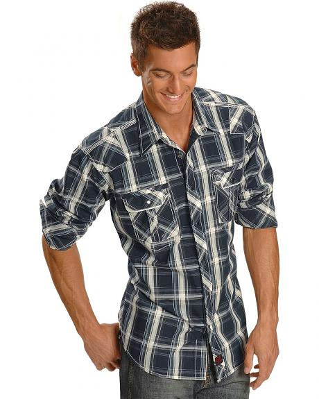 Panhandle Slim 90 Proof Navy Plaid Stitched Western Shirt