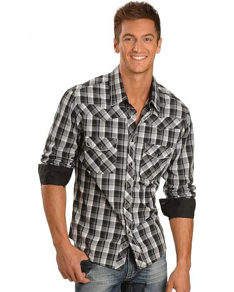 Rock & Roll Cowboy Grey & Black Plaid Western Shirt