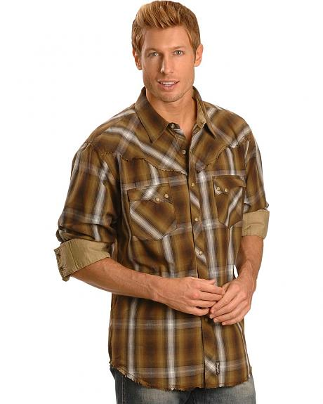Wrangler Brown Dobby Plaid Retro Western Shirt
