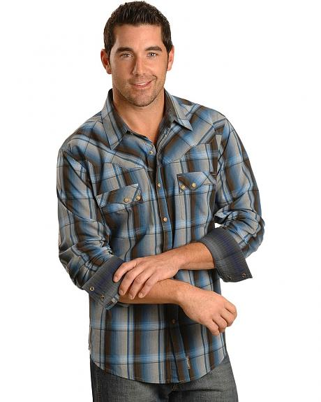 Wrangler Brown and Blue Rancher Crease Plaid Retro Shirt