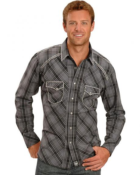 Wrangler Rock 47 Plaid with Contrasting Stitch Shirt