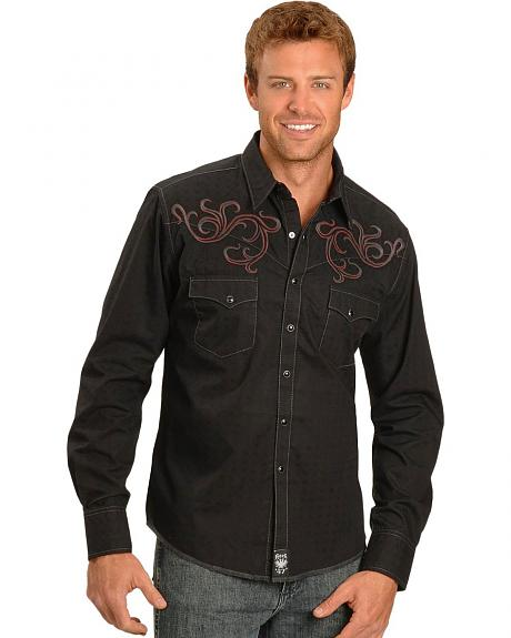 Wrangler Rock 47 Black Tonal Dobby Shirt