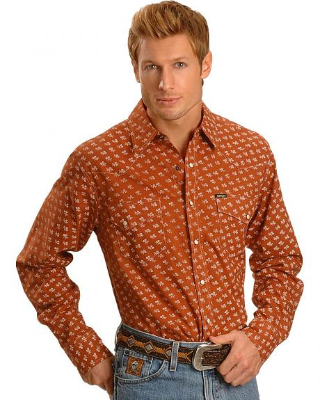 Cinch � Brick Brown Print Slim Fit Snap Shirt