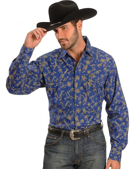 Cinch� Royal Blue Paisley Print Slim Fit Long Sleeve Shirt