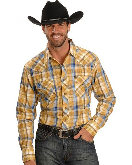 Cinch� Gold Plaid Slim Fit Long Sleeve Shirt
