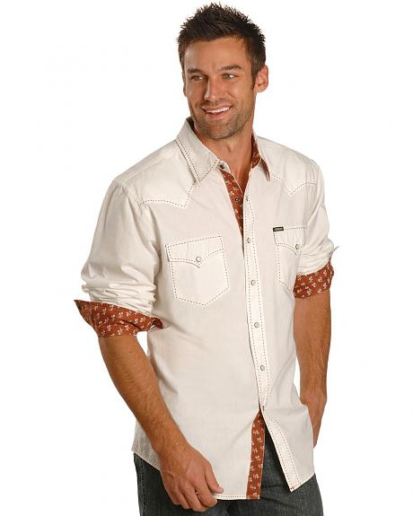 Cinch� Contrasting Stitch Solid Slim Fit Long Sleeve Shirt