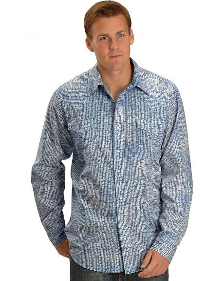 Tin Haul Blue Marble Wash Snap Western Shirt