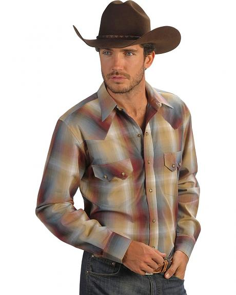 Red Ranch Rusty Ombre Plaid Sawtooth Pocket Shirt