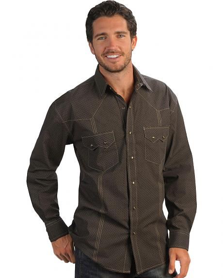 Red Ranch Brown Wallpaper Pattern Long Sleeve Western Shirt