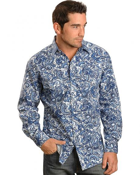 Red Ranch Blue Paisley Western Shirt