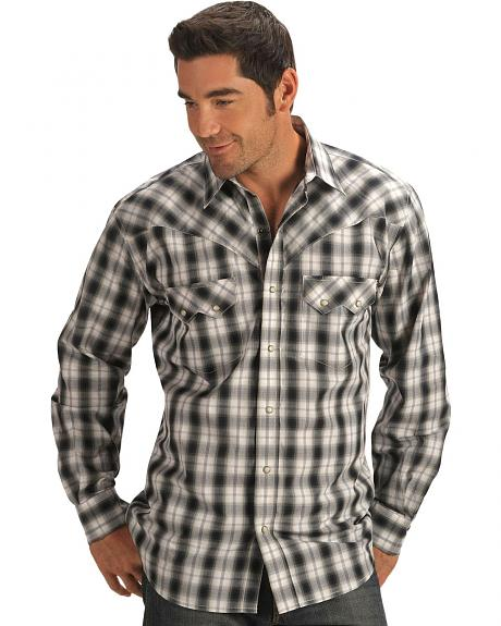 Red Ranch Black Plaid w/ Sawtooth Pockets Western Shirt