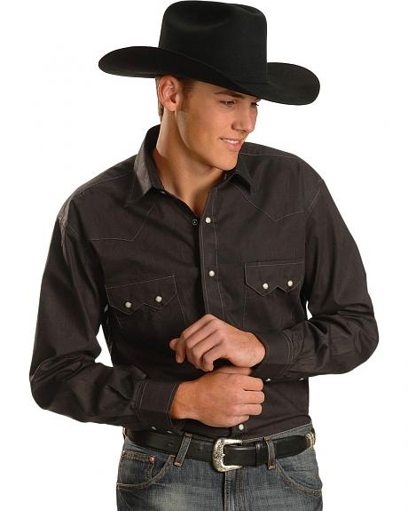 Red Ranch Tone-On-Tone Black Paisley Western Shirt