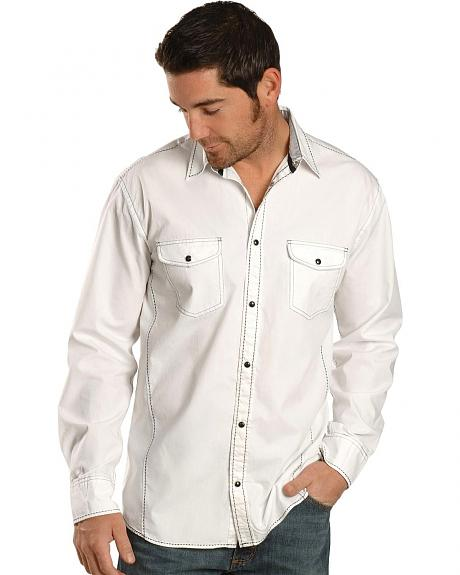 Red Ranch White & Navy Blue Saddle Stitch Shirt