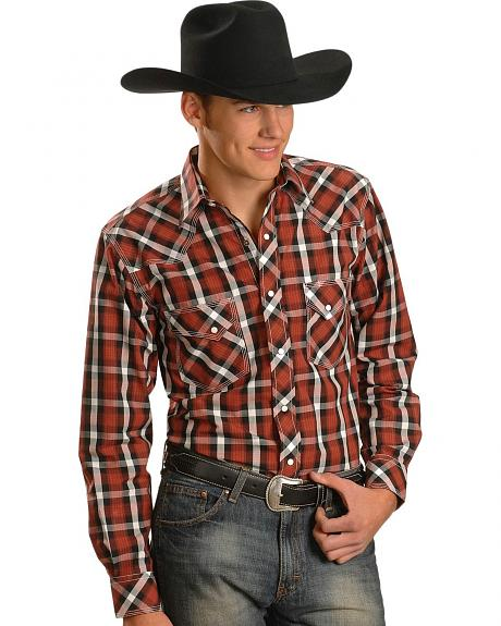 Red Ranch Red Plaid Stitched Yoke Western Shirt