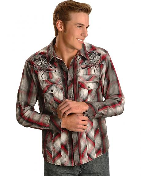 Rock & Roll Cowboy Red Ombre Plaid Embroidered Western Shirt