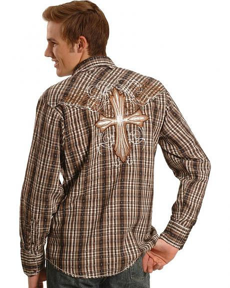 Panhandle Slim 90 Proof Brown Dobby Plaid Cross Embroidered Shirt
