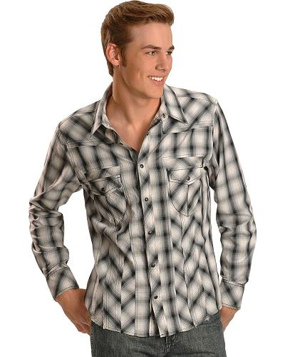 Rock & Roll Cowboy Black Plaid Contrast Stitched Western Shirt Western & Country B2S2268-01