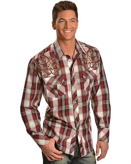 Panhandle Slim 90 Proof Scroll Embroidered Plaid Western Shirt
