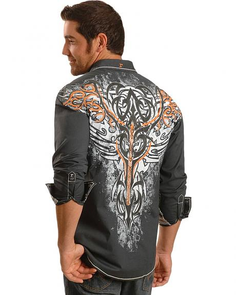 Roar Contrasting Sleeve Embroidered Charcoal Long Sleeve Shirt