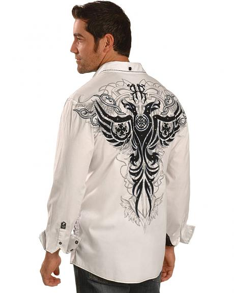 Roar Embellished & Studded Embroidered White Long Sleeve Shirt