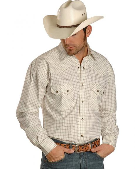 Red Ranch White Checkered Long Sleeve Western Shirt