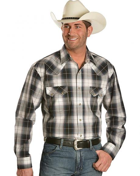Red Ranch Grey Plaid Button Snap Western Shirt