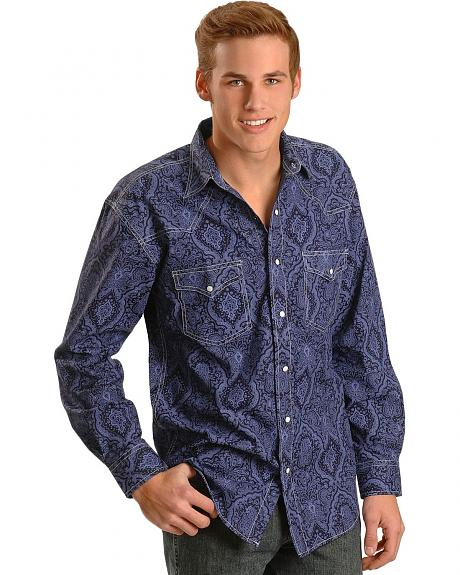 Red Ranch Blue Paisley Long Sleeve Shirt