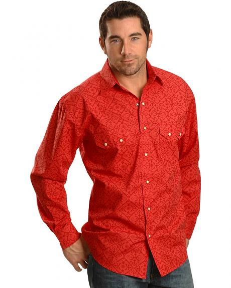 Red Ranch Two-Tone Floral Design Long Sleeve Shirt