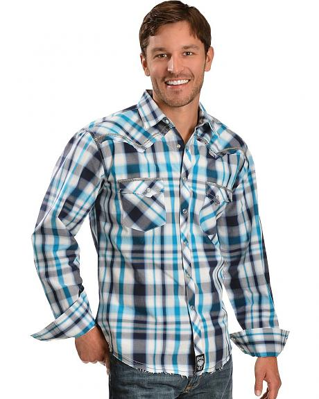 Wrangler Rock 47 Plaid with Whipstitching Designs Western Shirt
