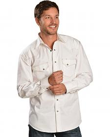 Red Ranch Topstitched White Western Shirt