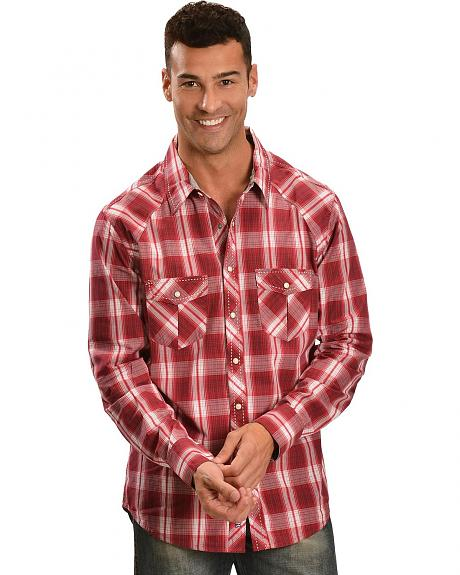 Rock & Roll Cowboy Red Plaid Thick Stitched Long Sleeve Shirt