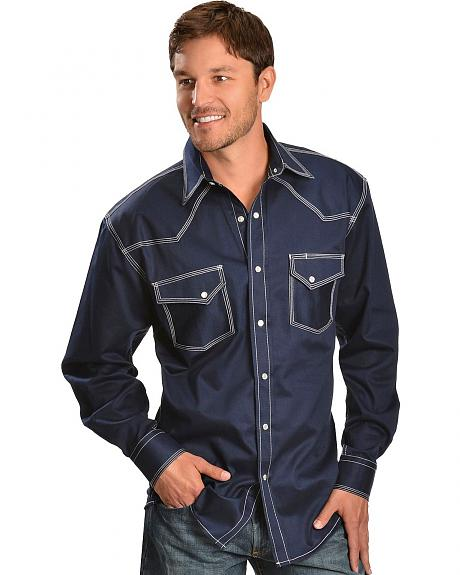 Red Ranch Topstitched Navy Western Shirt