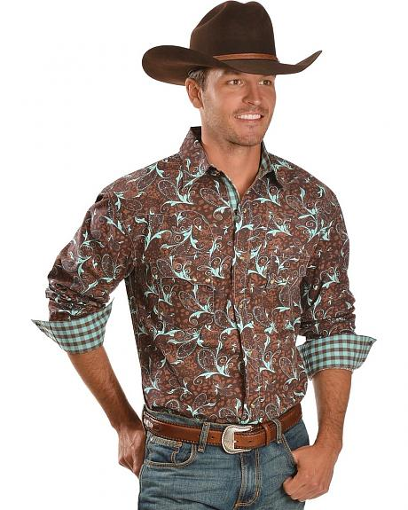 Red Ranch Brown & Turquoise Paisley Western Shirt