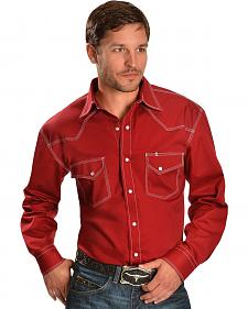 Red Ranch Topstitched Red Western Shirt