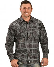 Wrangler Rock 47 Embroidered Plaid Print Western Shirt