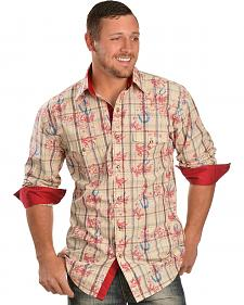 Red Ranch Horseshoe Stamped Plaid Long Sleeve Shirt