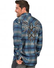 Red Ranch Embroidered Blue Plaid Western Shirt