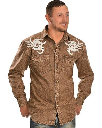 Red Ranch Wrinkle Dye Bold Embroidered Long Sleeve Shirt Western & Country CCM-854