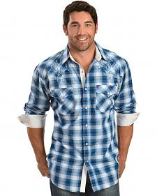 Red Ranch Blue Plaid Embroidered Long Sleeve Shirt