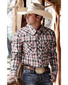 Cinch Modern Fit Red and White Plaid Western Shirt