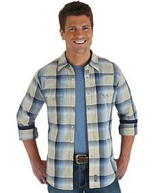 Wrangler Retro Men's Blue & Gray Plaid Western Shirt