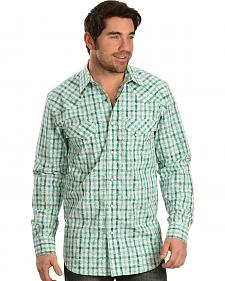 Red Ranch Green and White Plaid White Overprint Western Shirt