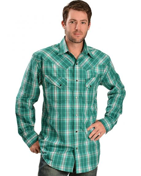 Red Ranch Men's Green Plaid Long Sleeve Shirt