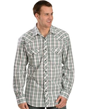 Red Ranch Green, White and Grey Plaid Long Sleeve Shirt