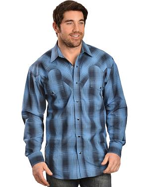 Red Ranch Long Sleeve Blue Plaid Shirt
