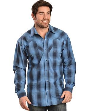 Red Ranch Long Sleeve Blue Plaid Shirt